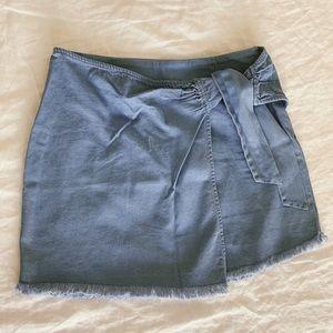 Faux wrap denim skirt